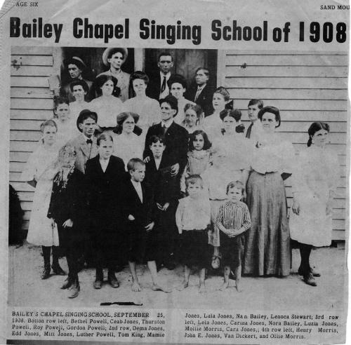 Bailey's Chapel Singing School newspaper clip