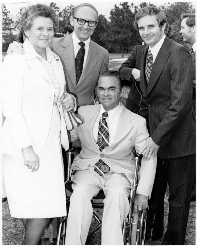 Maxine Barron, Dr. Marvin Barron and Lowell Barron with George Wallace