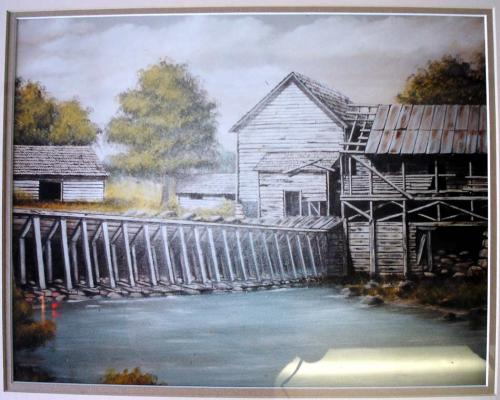A painting of the dam on Town Creek at Chavies