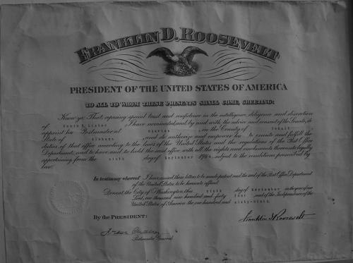 Postmistress Lister's 1944 certificate of appointment from President Roosevelt