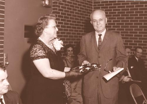 Postmistress Genie Lister with Congressman Albert Rains