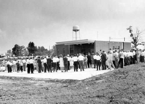 Crowd at 1964 post office grand opening